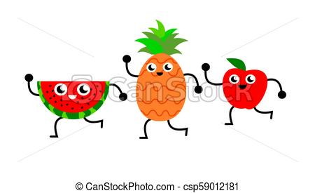 A funny illustration of a slice of watermelon, a pineapple and an apple  dancing.