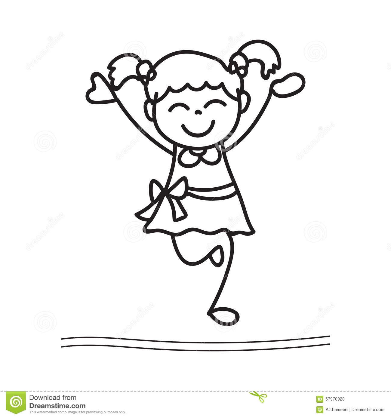 Hand Drawing Happy Girl Dancing Stock Vector.