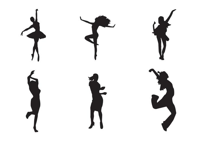Free Vector Dancing Girl Silhouettes.