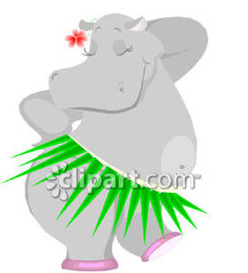 Hula Dancing Hippo Cartoon.