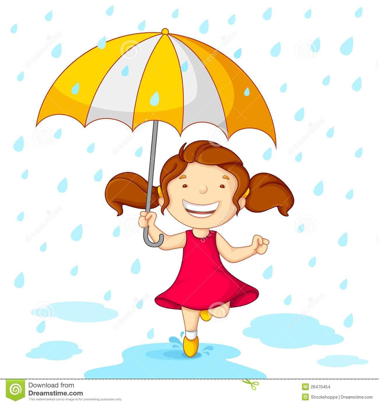 Girl In Rain Clipart.