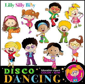 DISCO KIDS Dancing Clipart. BLACK AND WHITE & Color Bundle. {Lilly Silly  Billy}.