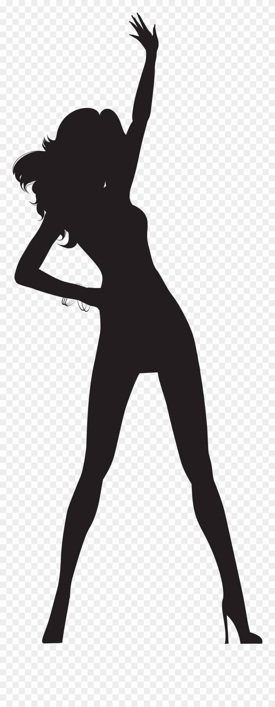 Dancing Woman Silhouette Png Transparent Clip Art Image.