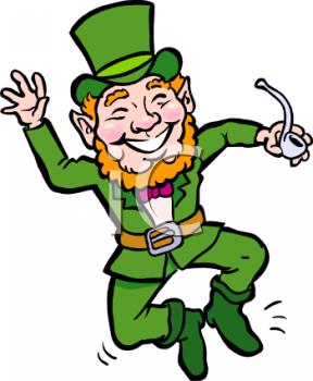Royalty Free Clipart Image: Happy Little Leprechaun Dancing.
