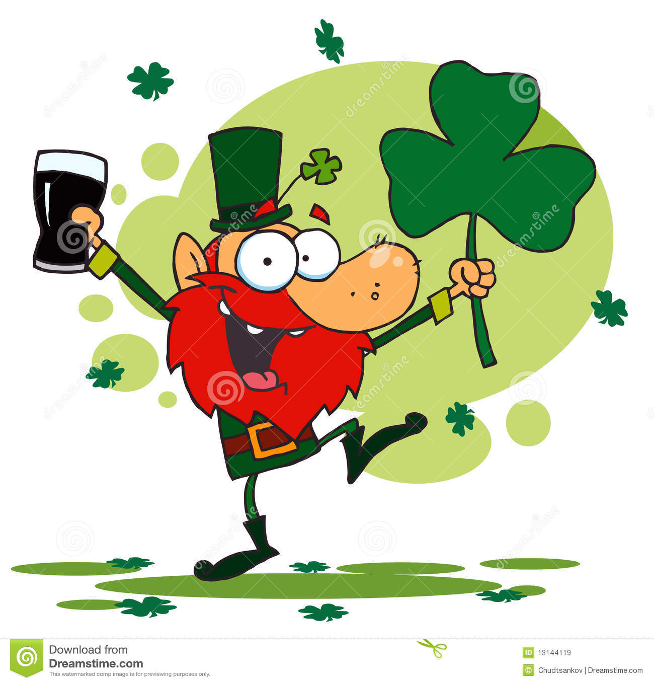 Dancing Leprechaun Holding A Shamrock And Beer Stock Vector.