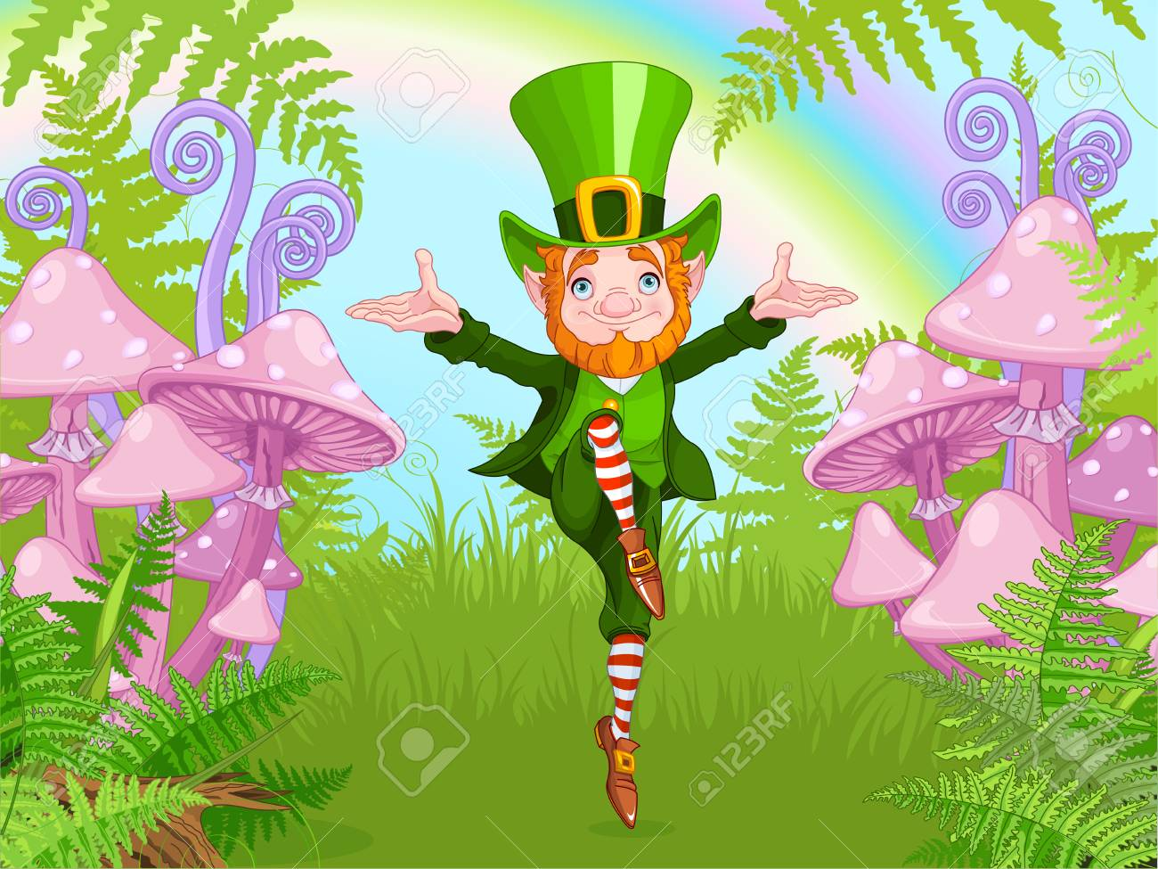 Lucky Dancing Leprechaun on a mushroom garden, cartoon vector...