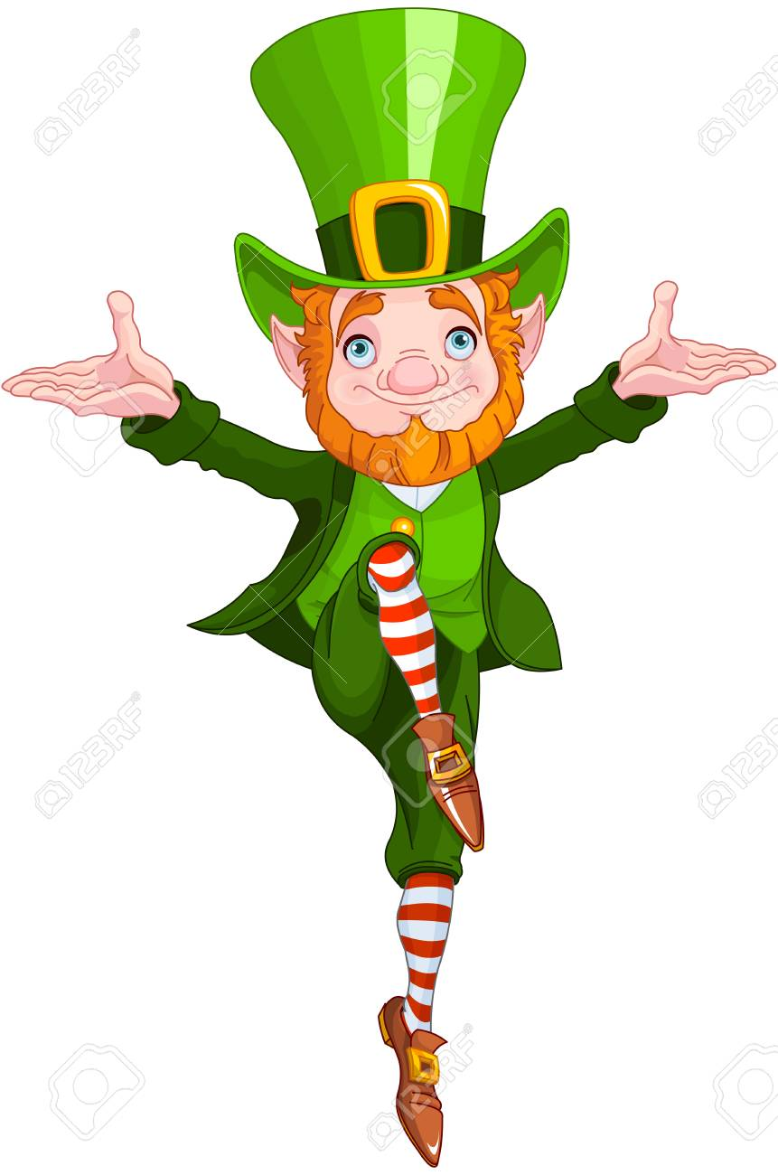 Illustration of a leprechaun dancing a jig.