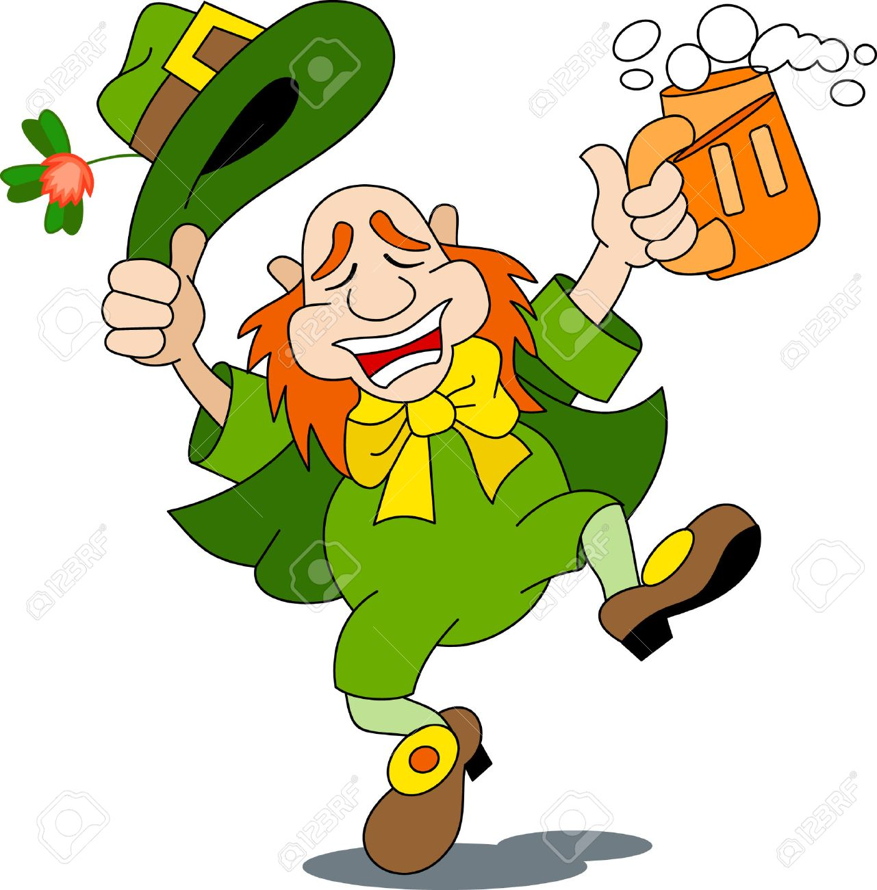 A leprechaun is dancing with beer.