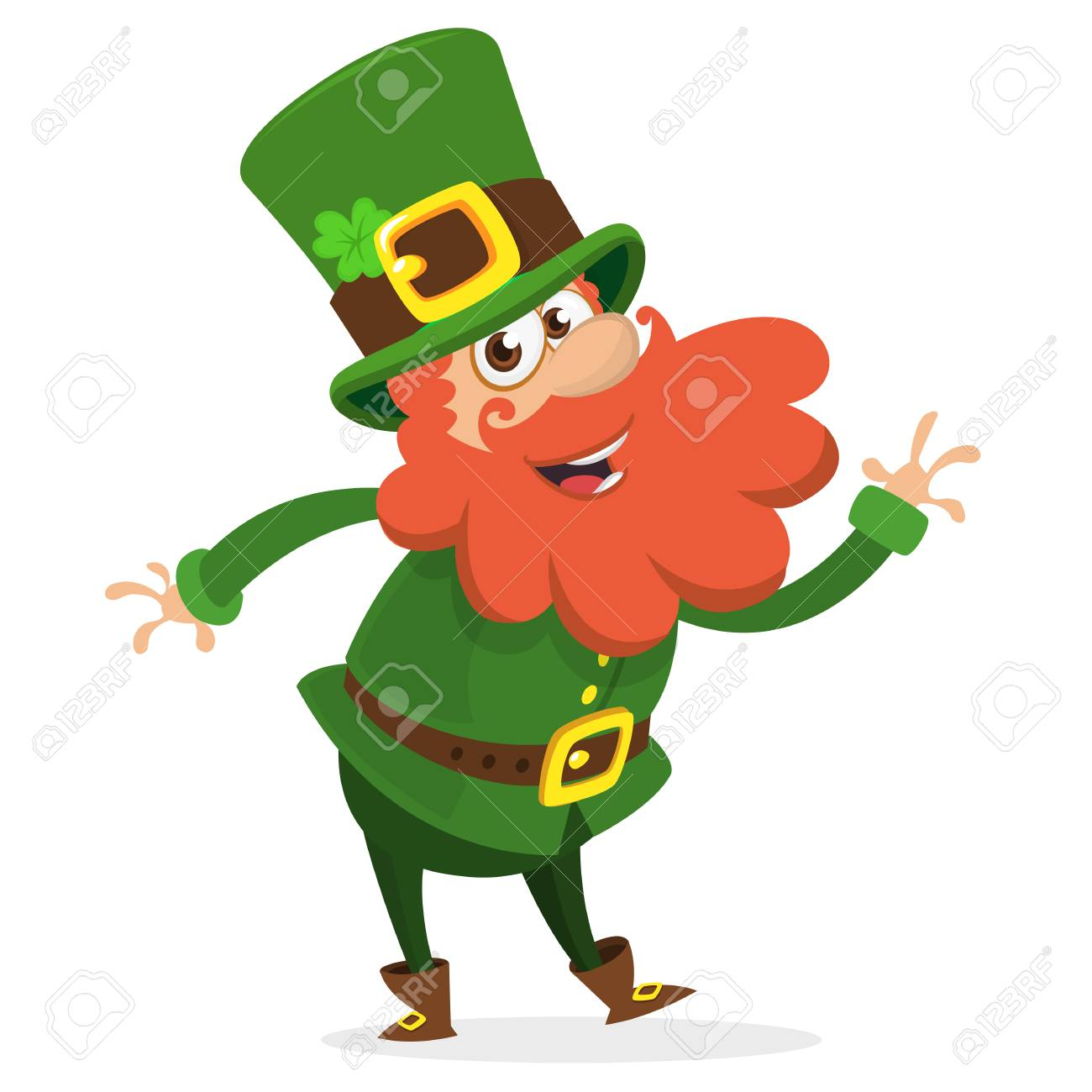 Dancing leprechaun cartoon vector illustration..