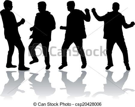Dancing men silhouettes.