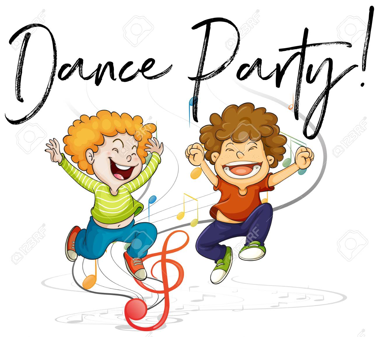 Two boys dancing and words dance party illustration.