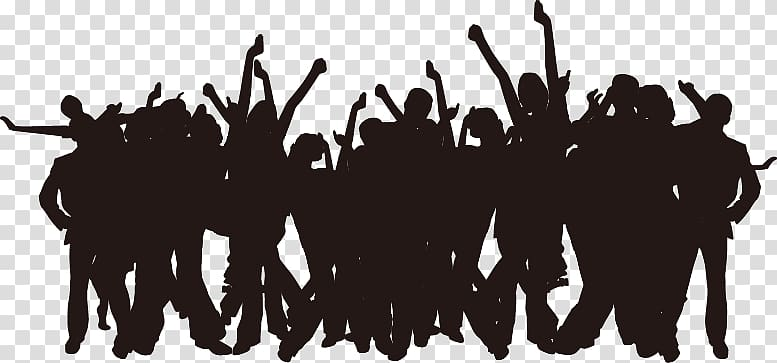 Group of dancing people illustration, Party Silhouette Poster.