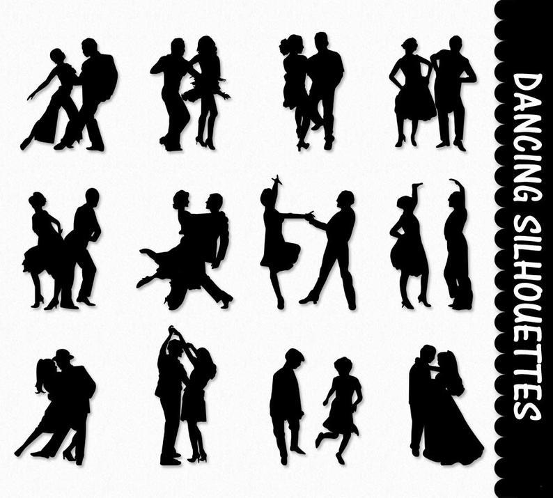 Dancers Clip Art Graphics Dancing People Clipart Scrapbook Couple Dance  Silhouettes Digital Download PNG Printable Vector Commercial.