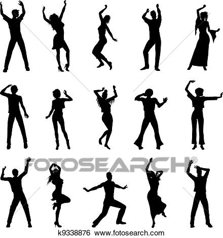 Dancing people silhouettes Clip Art.