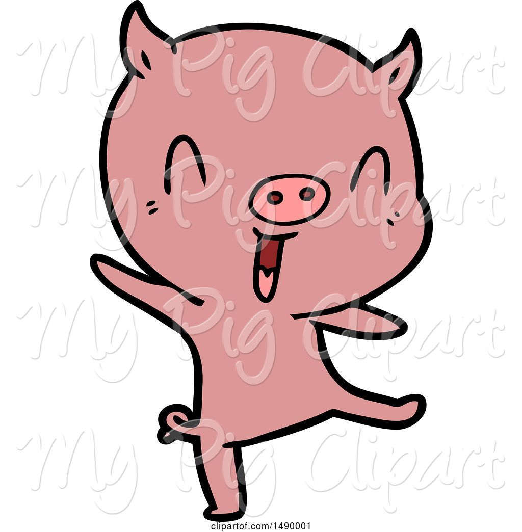 Swine Clipart of Pig Dancing by lineartestpilot.