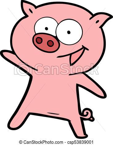 cheerful dancing pig cartoon.