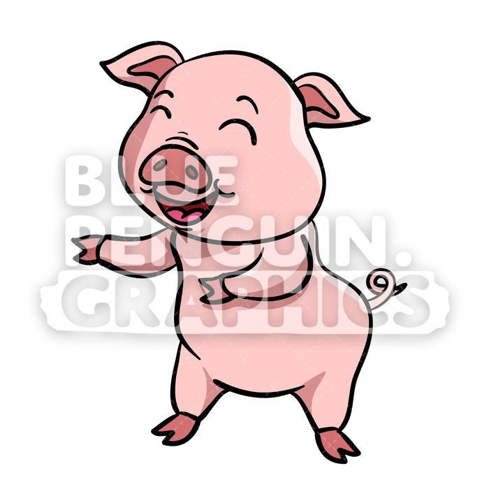 Pig Dancing Vector Cartoon Clipart Illustration.