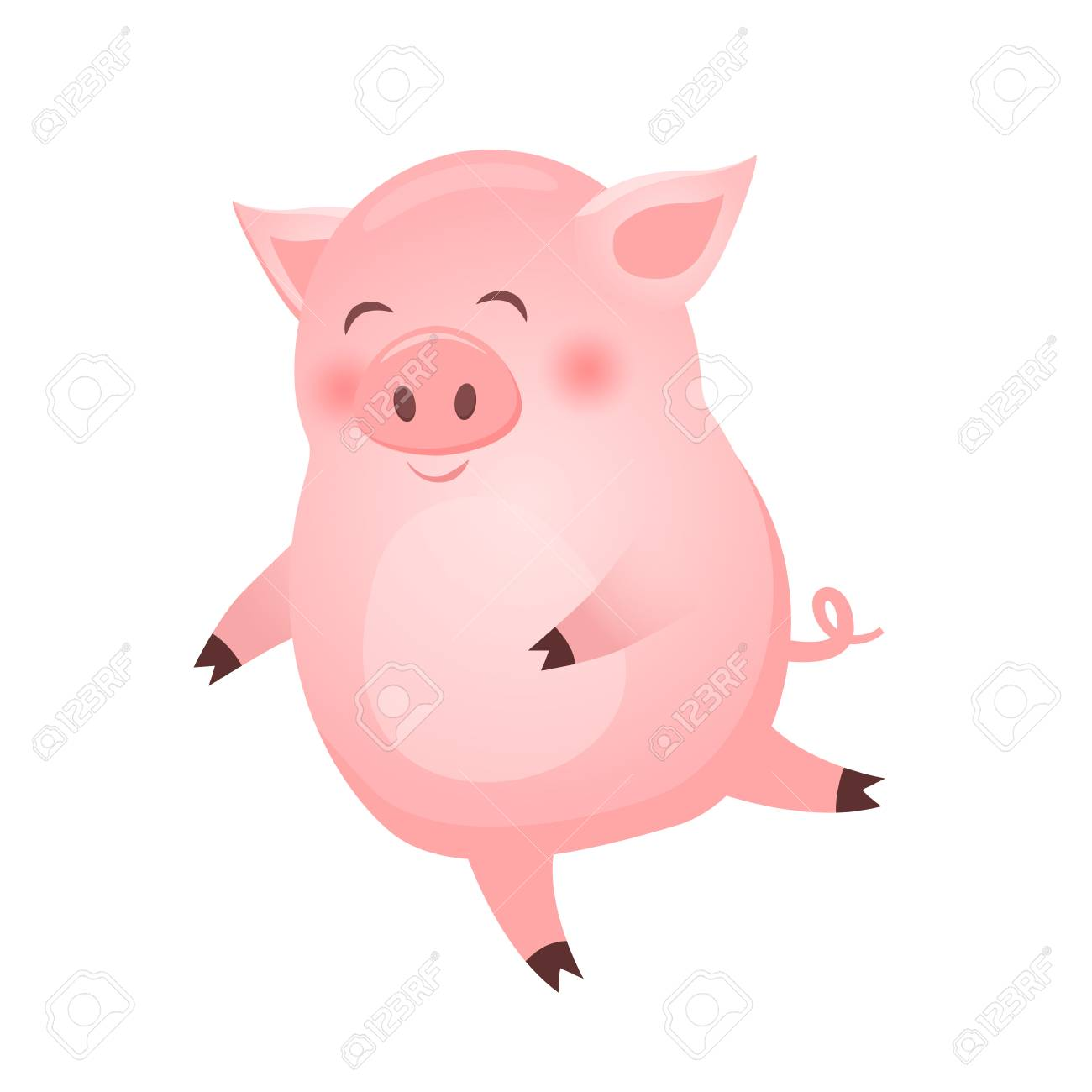 Dancing Pig animal cartoon character isolated on white background..