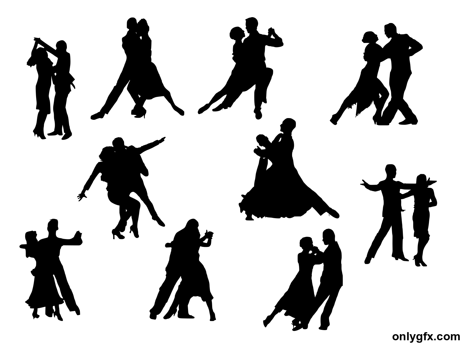 10 Couple Dancing Silhouette (PNG Transparent).