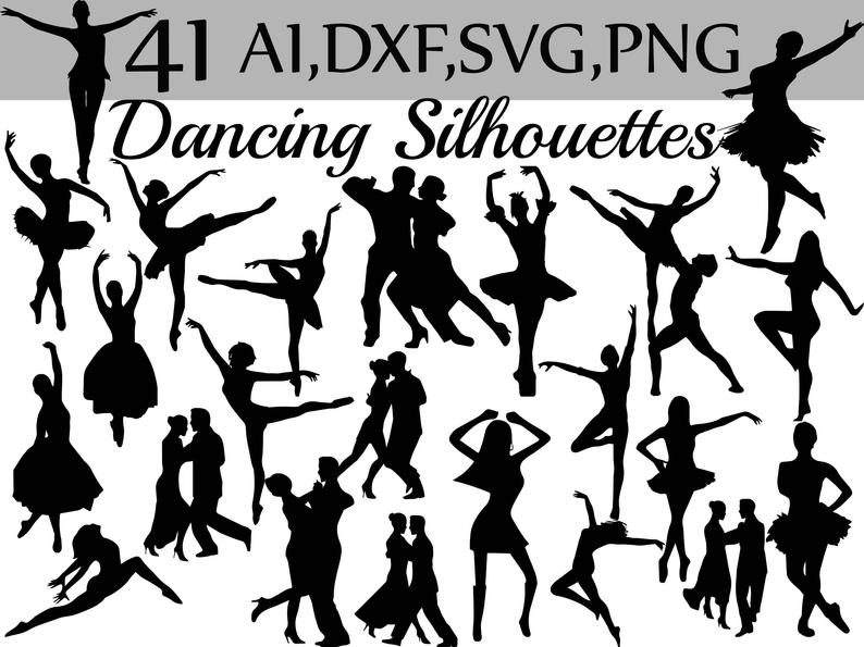 Dancing Silhouettes Clipart: