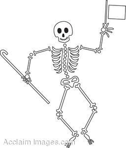 Clipart of a Dancing Skeleton.