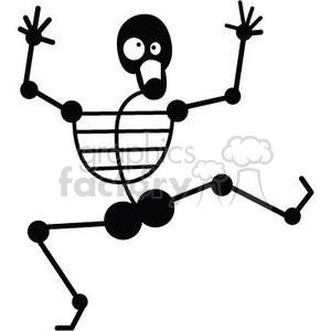 dancing skeleton clipart. Royalty.
