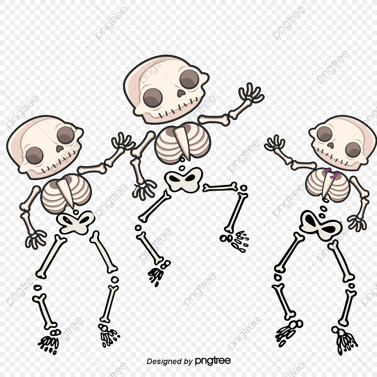 Vector Painted Three Skeletons Dancing Skeleton, Vector, Hand.