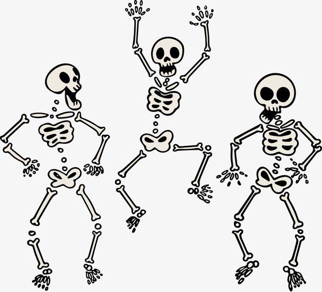 Vector Painted Three Skeletons Dancing Skeleton, Vector.
