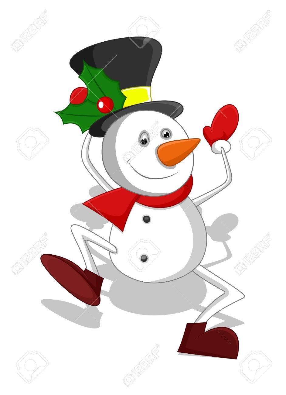 Funny Cartoon Snowman Santa Dancing.