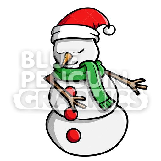 Snowman Floss Dance Vector Cartoon Clipart Illustration.