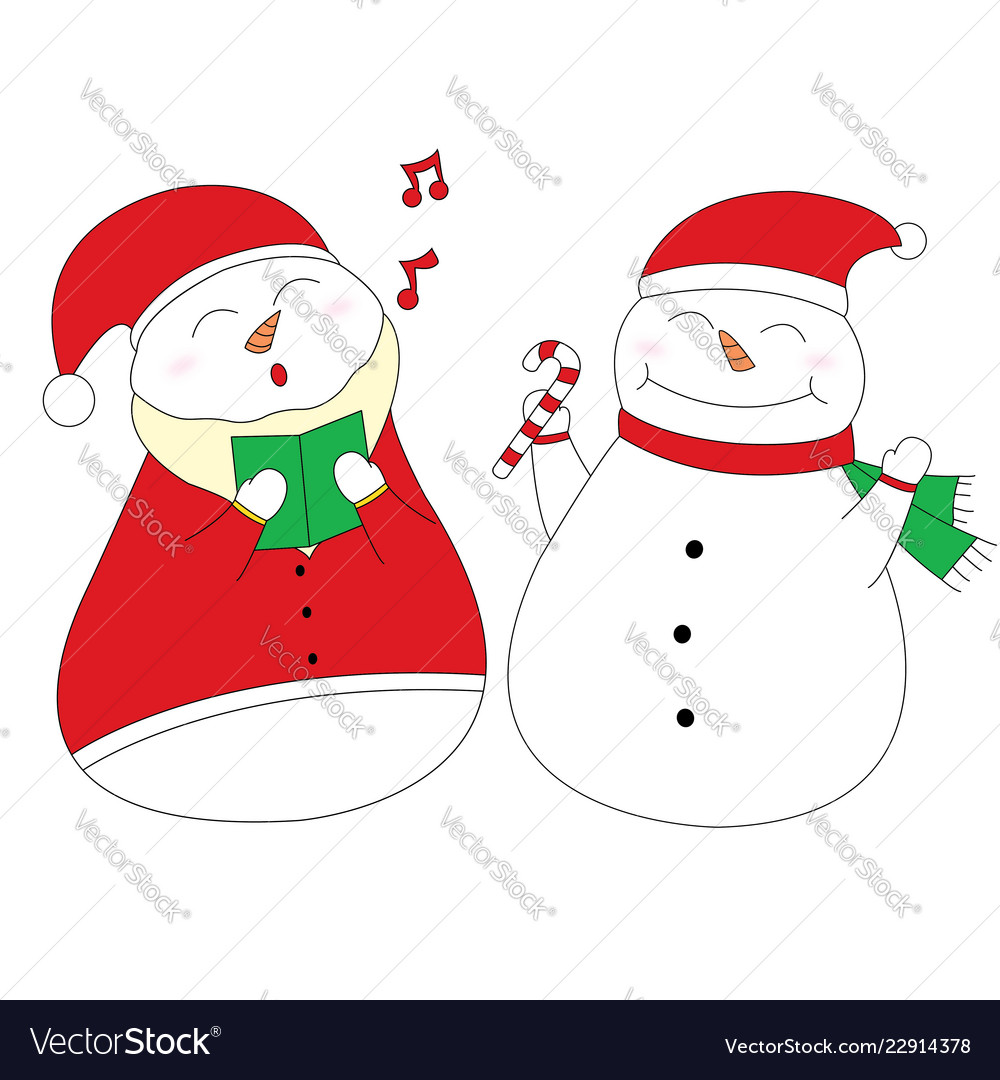 Singing and happy snowman design element clipart.
