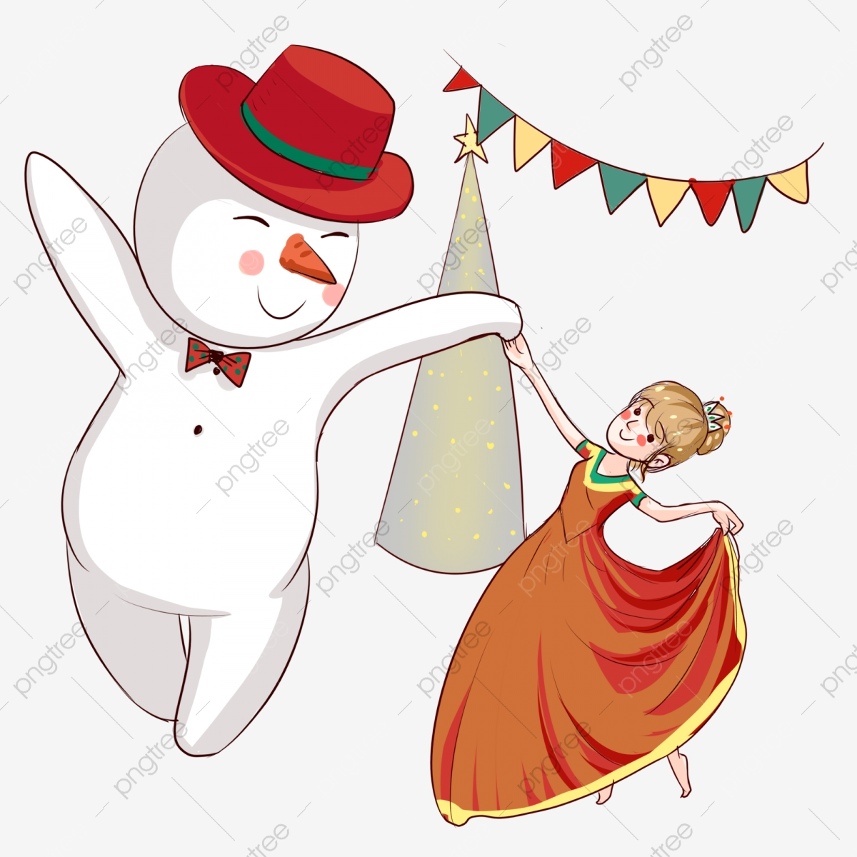 Christmas Ball Snowman Hand Drawn Snowman Cartoon Girl, Christmas.