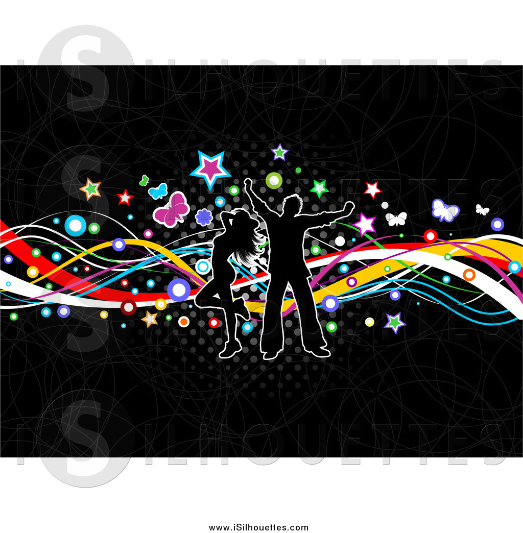 Clipart of a Silhouetted Couple Dancing over Colorful Waves, Stars.