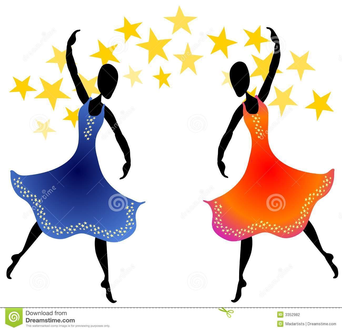 Women Dancing Under Stars stock illustration. Illustration of person.