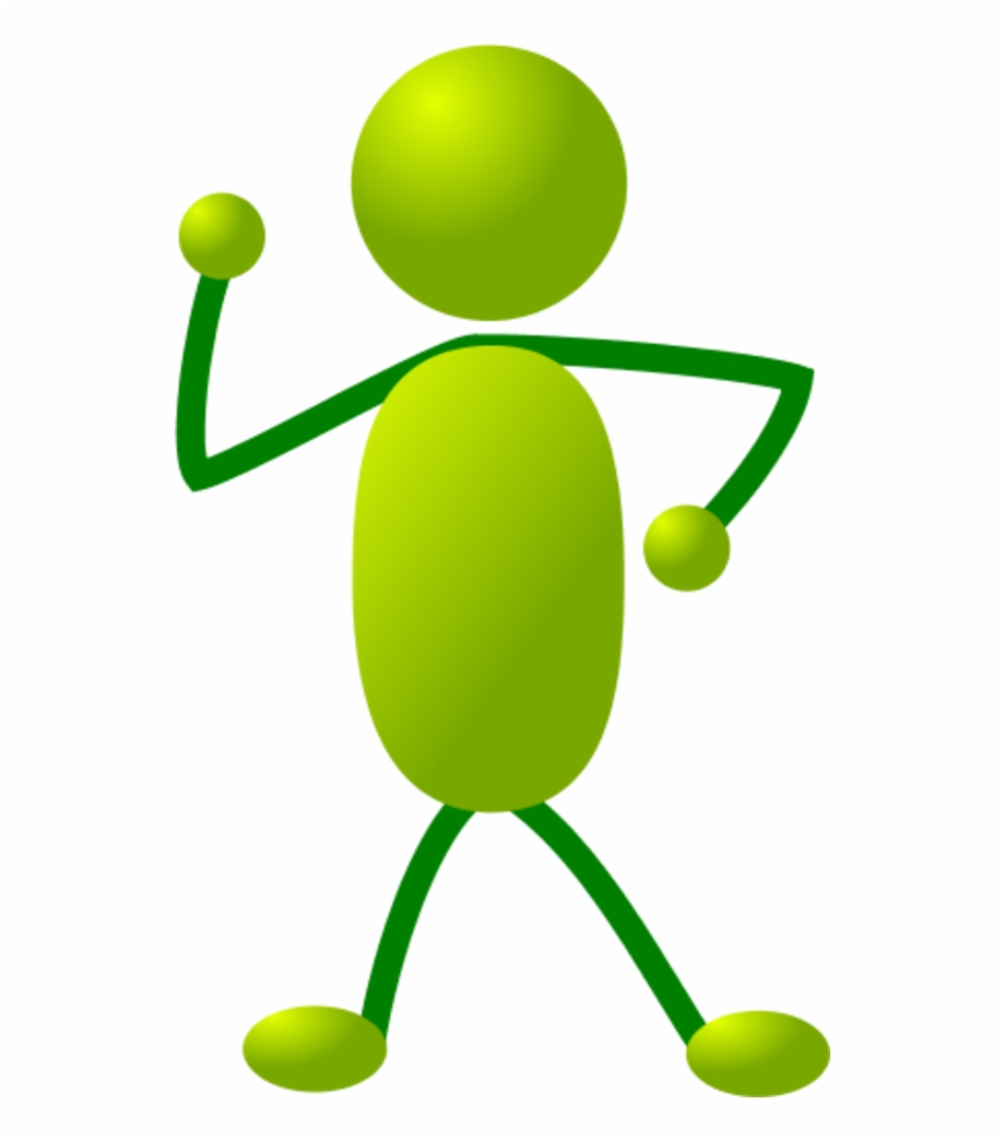 Green Stick People Dancing Clipart.