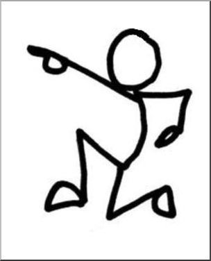 Clip Art: Stick Guy Charge B&W.