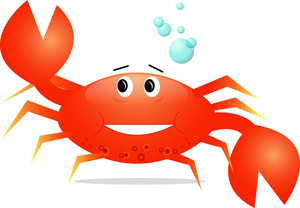 A Cartoon Clip Art Of A Crab Dancing In The Water.