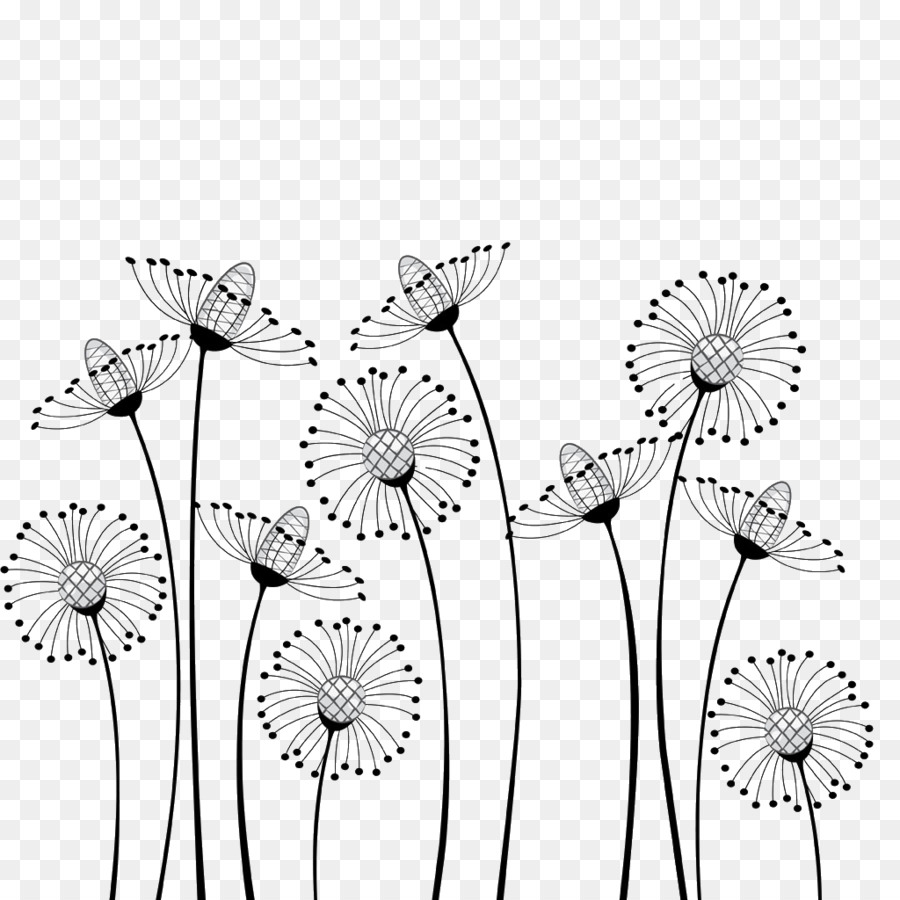 Flower Cartoon Black And White Drawing C #183172.