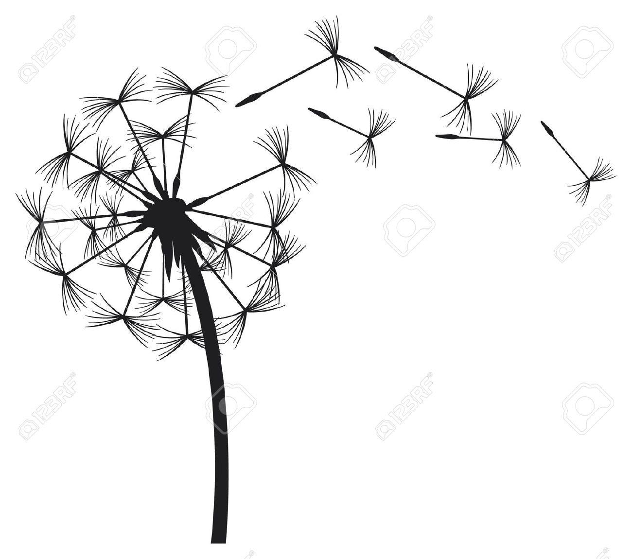 Dandelion In The Wind Royalty Free Cliparts, Vectors, And Stock.