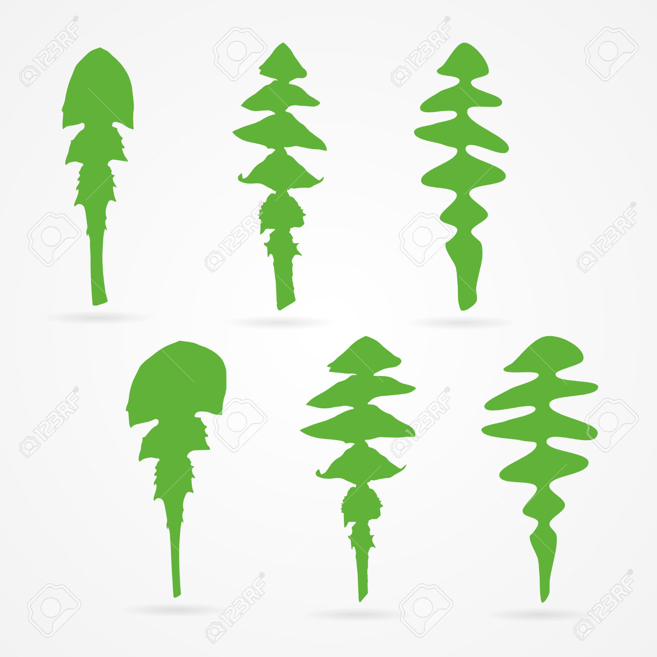 Set Of Clean Vector Dandelion Leaf Silhouettes Royalty Free.
