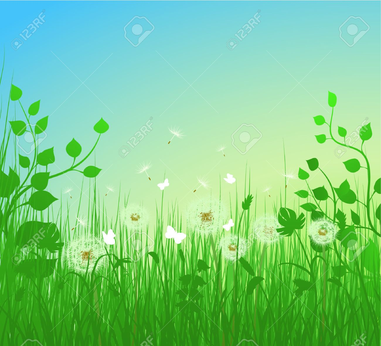 Dandelion Meadow Illustration Royalty Free Cliparts, Vectors, And.