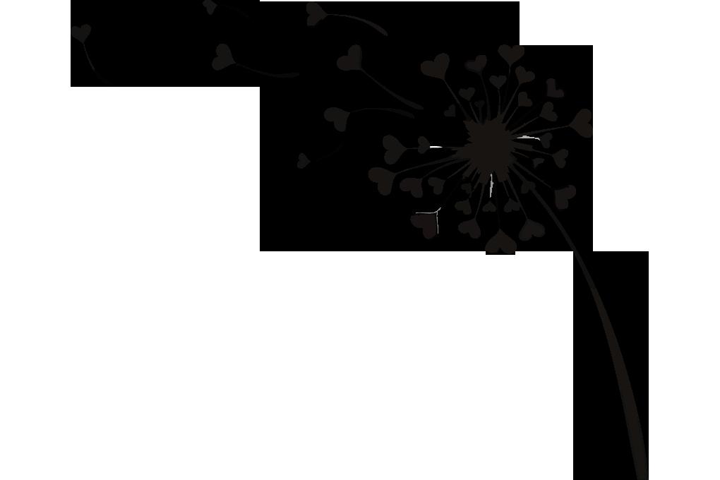 Flying Dandelion Love Hearts Vector Image.