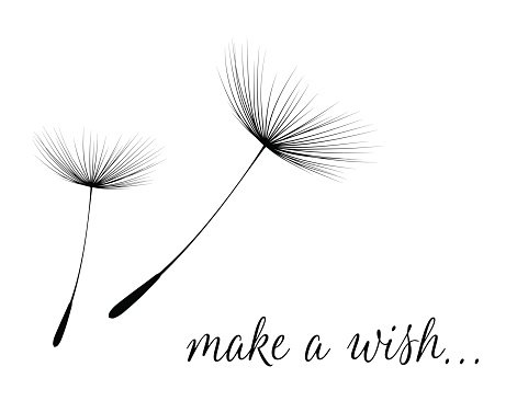 Make a wish card with dandelion fluff Clipart Image.