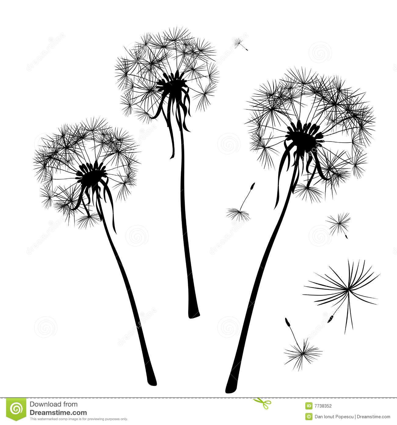 Dandelion Silhouette Clipart.