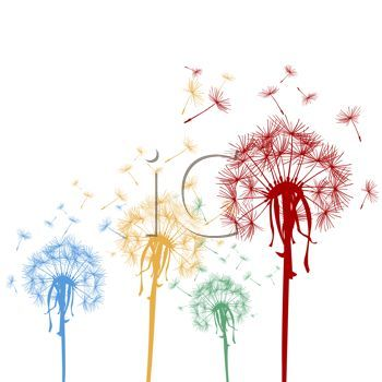 black and white dandelion clip art.