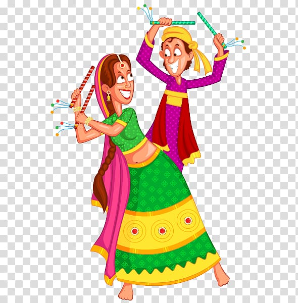 Man and woman performing dance , Dandiya Raas Drawing Garba.