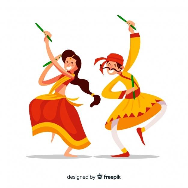 Free Dandiya dancers SVG DXF EPS PNG.