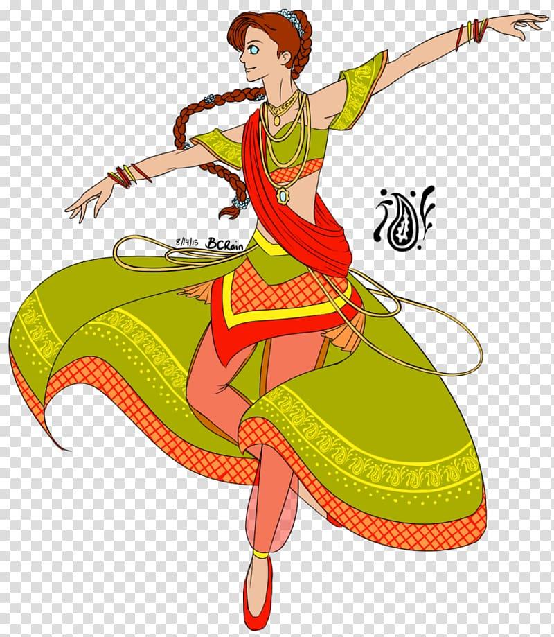 Woman in green and red dress dancing illustration, Art Dandiya Raas.
