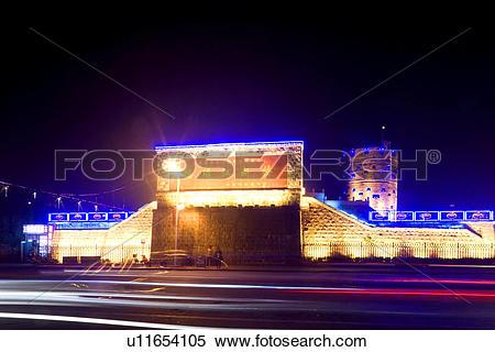 Stock Image of The Broken Bridge at night Yalu river Dandong.