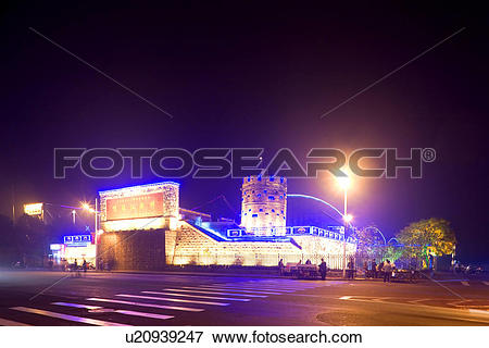 Picture of The Broken Bridge at night Yalu river Dandong Liaoning.